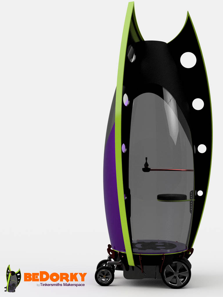 Dorkpod with smoke polycarbonate and metal flake purple formed shell. Lime Gree T-Fins